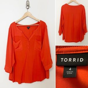 Torrid Tangerine 1/2 Button Down Blouse -SZ 4